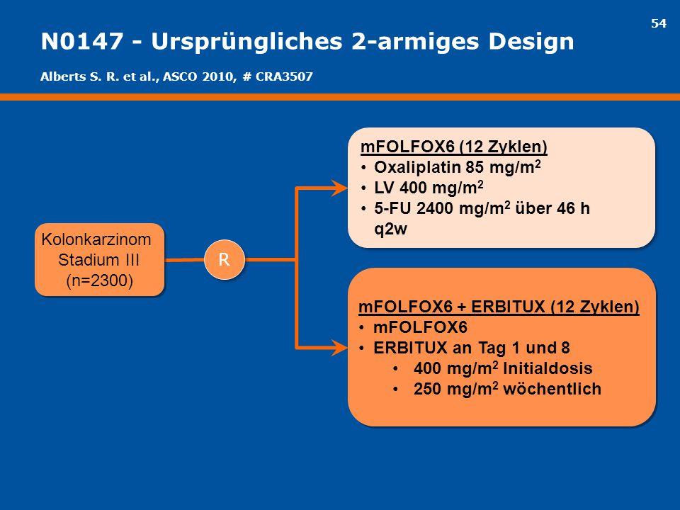 54 N0147 - Ursprüngliches 2-armiges Design mFOLFOX6 (12 Zyklen) Oxaliplatin 85 mg/m 2 LV 400 mg/m 2 5-FU 2400 mg/m 2 über 46 h q2w mFOLFOX6 (12 Zyklen