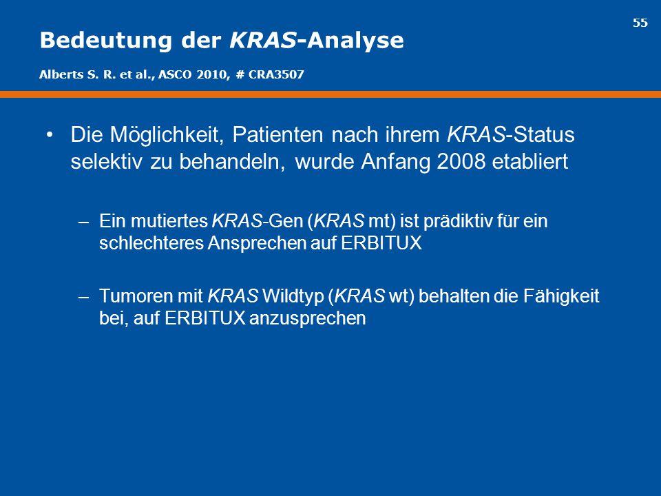 55 Bedeutung der KRAS-Analyse Die Möglichkeit, Patienten nach ihrem KRAS-Status selektiv zu behandeln, wurde Anfang 2008 etabliert –Ein mutiertes KRAS