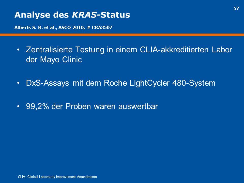 57 Analyse des KRAS-Status Zentralisierte Testung in einem CLIA-akkreditierten Labor der Mayo Clinic DxS-Assays mit dem Roche LightCycler 480-System 9