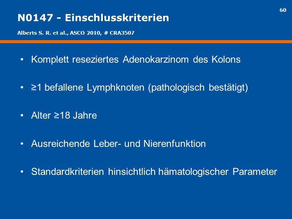 60 N0147 - Einschlusskriterien Komplett reseziertes Adenokarzinom des Kolons ≥1 befallene Lymphknoten (pathologisch bestätigt) Alter ≥18 Jahre Ausreic