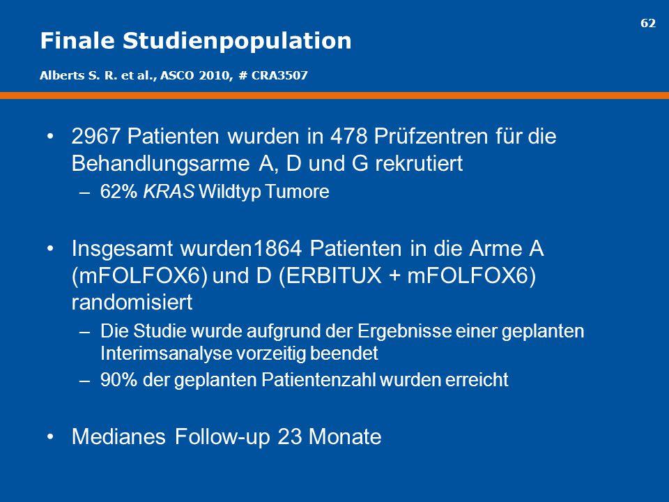 62 Finale Studienpopulation 2967 Patienten wurden in 478 Prüfzentren für die Behandlungsarme A, D und G rekrutiert –62% KRAS Wildtyp Tumore Insgesamt
