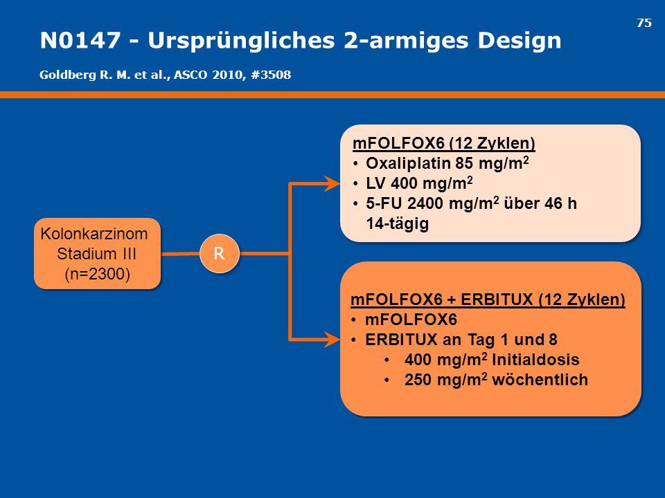 75 N0147 - Ursprüngliches 2-armiges Design mFOLFOX6 (12 Zyklen) Oxaliplatin 85 mg/m 2 LV 400 mg/m 2 5-FU 2400 mg/m 2 über 46 h 14-tägig mFOLFOX6 (12 Z