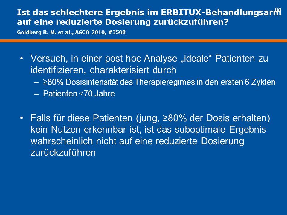 """80 Ist das schlechtere Ergebnis im ERBITUX-Behandlungsarm auf eine reduzierte Dosierung zurückzuführen? Versuch, in einer post hoc Analyse """"ideale"""" Pa"""