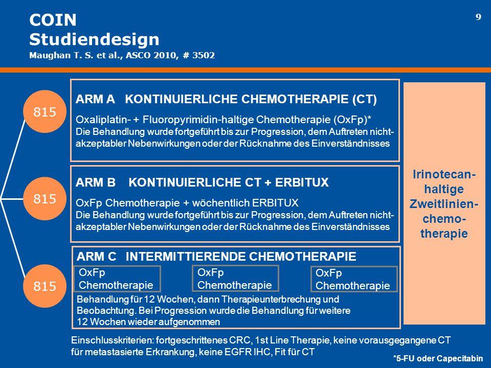 9 ARM AKONTINUIERLICHE CHEMOTHERAPIE (CT) Oxaliplatin- + Fluoropyrimidin-haltige Chemotherapie (OxFp)* Die Behandlung wurde fortgeführt bis zur Progre