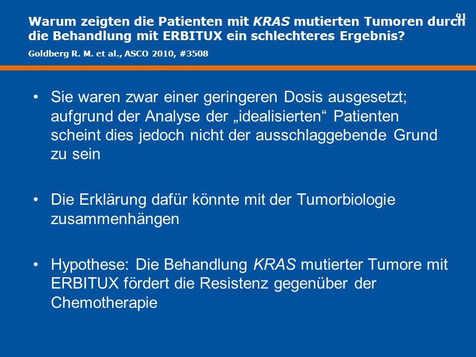 91 Warum zeigten die Patienten mit KRAS mutierten Tumoren durch die Behandlung mit ERBITUX ein schlechteres Ergebnis? Sie waren zwar einer geringeren