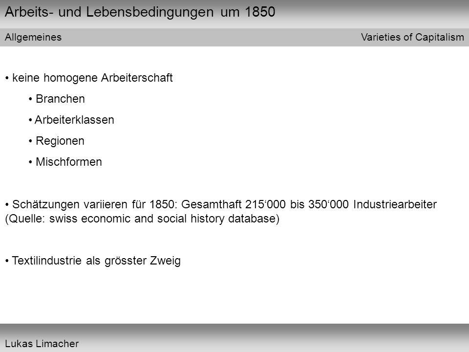 Arbeits- und Lebensbedingungen um 1850 Varieties of Capitalism Lukas Limacher Wohnverhältnisse 1, Beispiel Basel Bevölkerungsentwicklung am Beispiel der Stadt Basel 1815183718471860 10'000 20'000 30'000 40'000 16'674 37'915 (Quelle: Trevisian 1989)