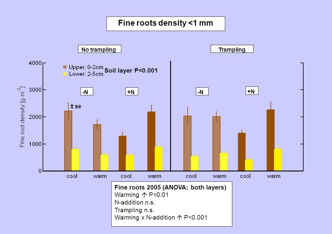 No tramplingTrampling -N +N Fine roots density <1 mm Fine roots 2005 (ANOVA; both layers) Warming  P<0.01 N-addition n.s. Trampling n.s. Warming x N-