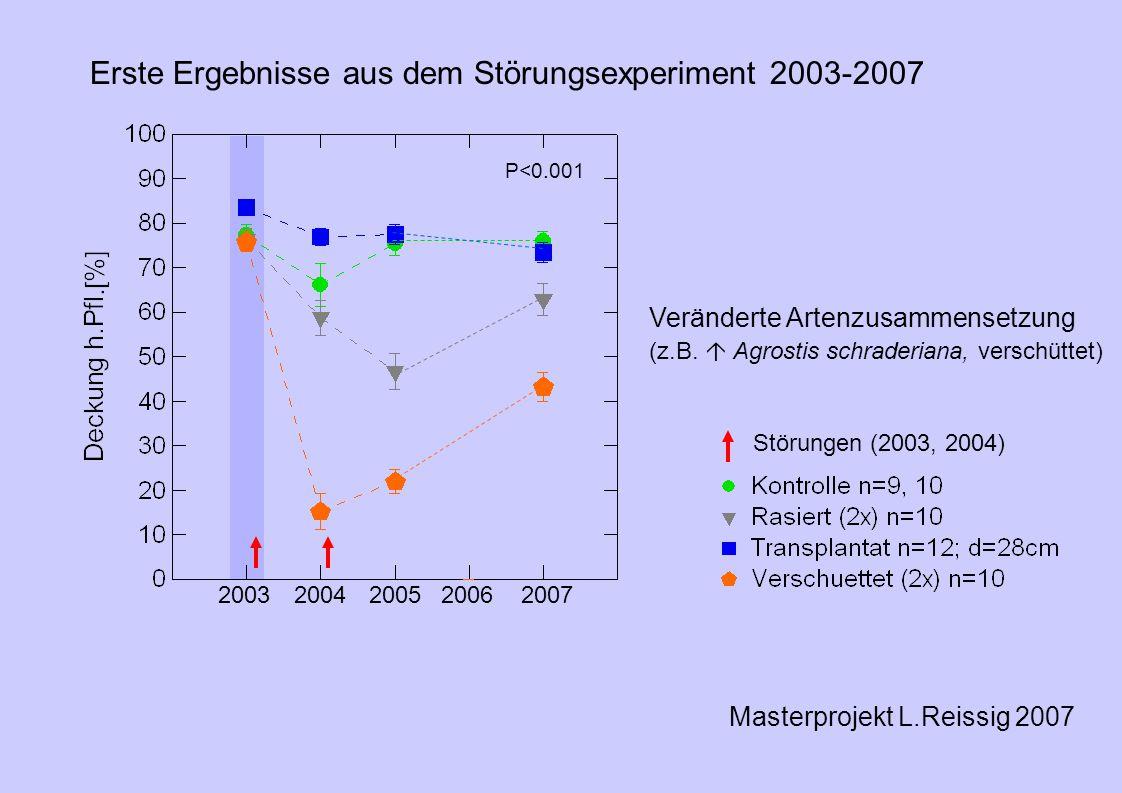 Masterprojekt L.Reissig 2007 2003200420052006 2007 P<0.001 Erste Ergebnisse aus dem Störungsexperiment 2003-2007 Störungen (2003, 2004) Veränderte Artenzusammensetzung (z.B.