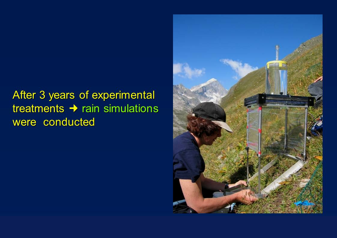After 3 years of experimental treatments rain simulations were conducted