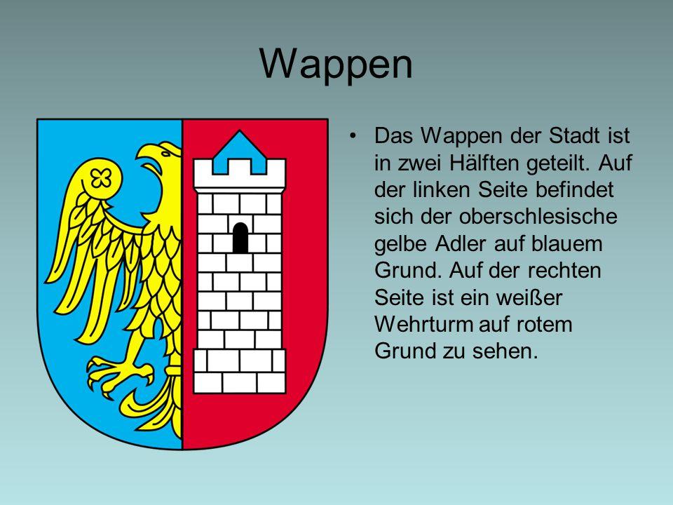 Wappen Das Wappen der Stadt ist in zwei Hälften geteilt. Auf der linken Seite befindet sich der oberschlesische gelbe Adler auf blauem Grund. Auf der