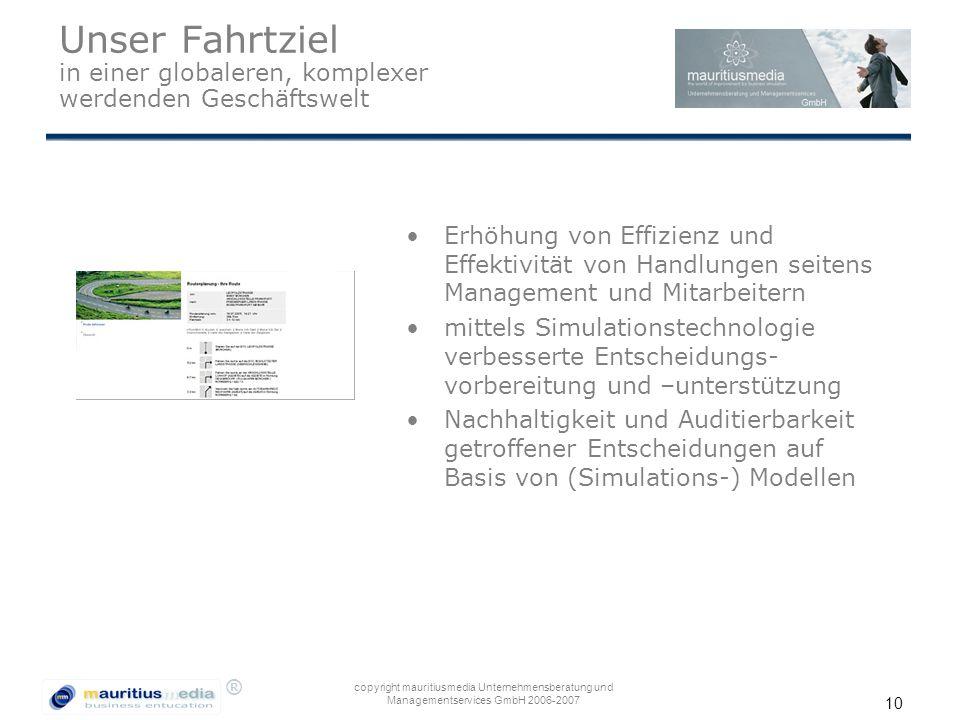 ® copyright mauritiusmedia Unternehmensberatung und Managementservices GmbH 2006-2007 10 Unser Fahrtziel in einer globaleren, komplexer werdenden Gesc