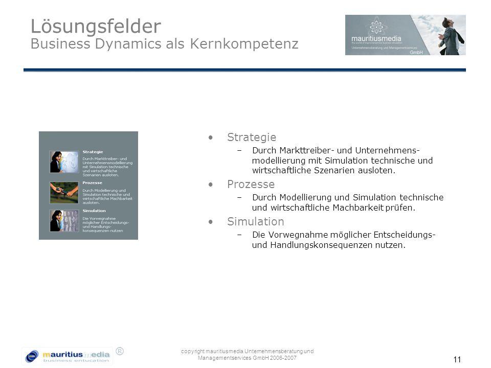 ® copyright mauritiusmedia Unternehmensberatung und Managementservices GmbH 2006-2007 11 Lösungsfelder Business Dynamics als Kernkompetenz Strategie –