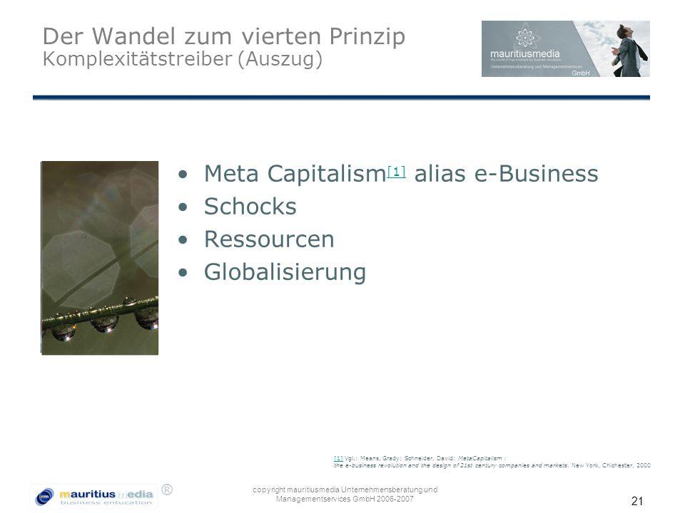 ® copyright mauritiusmedia Unternehmensberatung und Managementservices GmbH 2006-2007 21 Der Wandel zum vierten Prinzip Komplexitätstreiber (Auszug) M