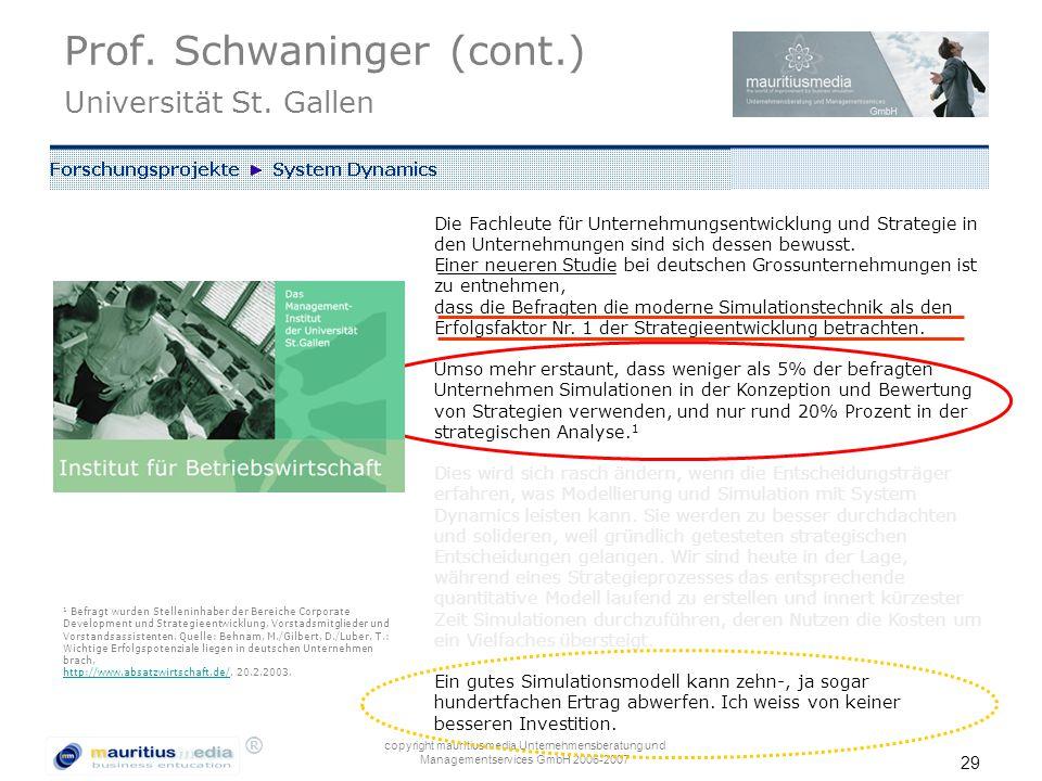 ® copyright mauritiusmedia Unternehmensberatung und Managementservices GmbH 2006-2007 29 Die Fachleute für Unternehmungsentwicklung und Strategie in den Unternehmungen sind sich dessen bewusst.
