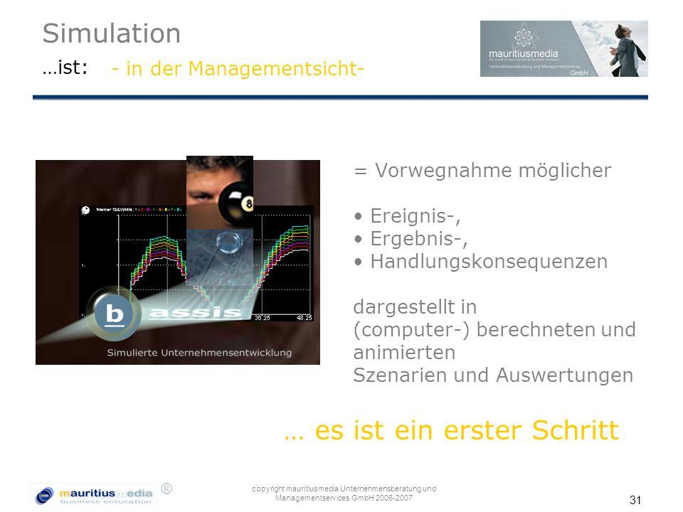 ® copyright mauritiusmedia Unternehmensberatung und Managementservices GmbH 2006-2007 31 Simulation …ist: = Vorwegnahme möglicher Ereignis-, Ergebnis-