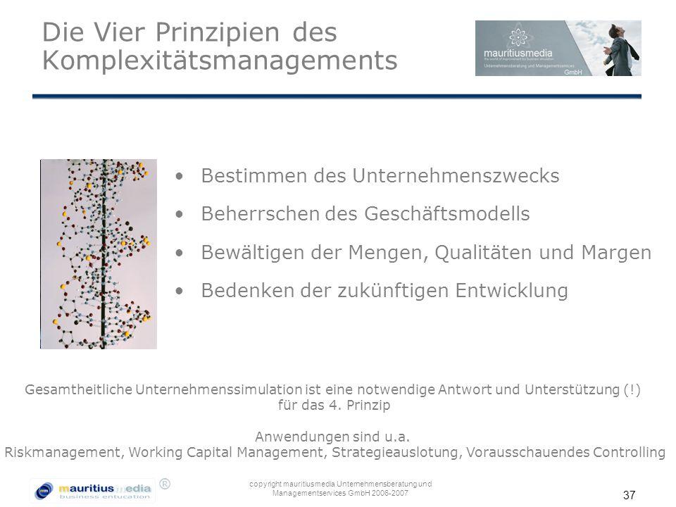 ® copyright mauritiusmedia Unternehmensberatung und Managementservices GmbH 2006-2007 37 Die Vier Prinzipien des Komplexitätsmanagements Bestimmen des