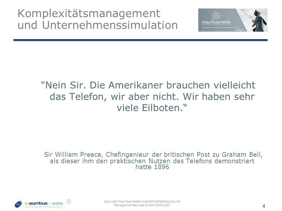 ® copyright mauritiusmedia Unternehmensberatung und Managementservices GmbH 2006-2007 4 Komplexitätsmanagement und Unternehmenssimulation