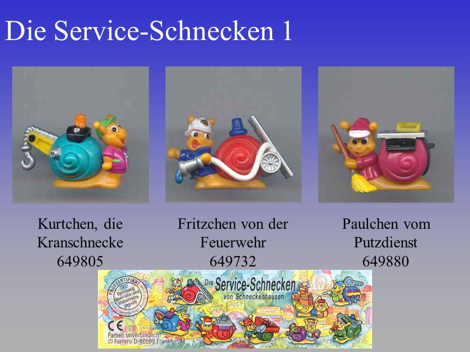 Die Service-Schnecken 1 Kurtchen, die Kranschnecke 649805 Fritzchen von der Feuerwehr 649732 Paulchen vom Putzdienst 649880
