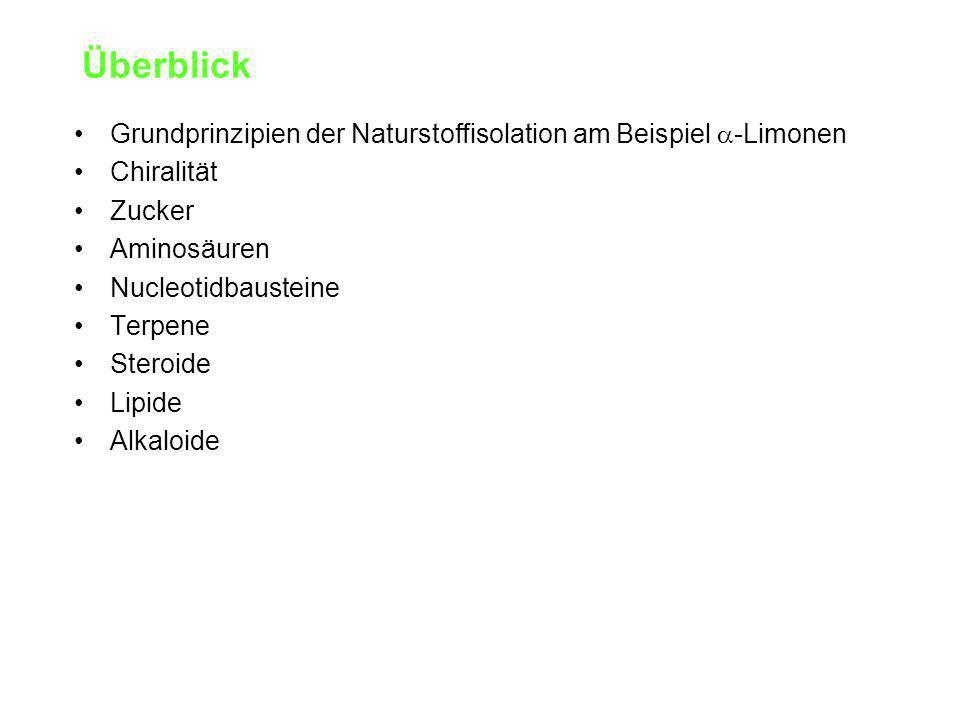 Überblick Grundprinzipien der Naturstoffisolation am Beispiel  -Limonen Chiralität Zucker Aminosäuren Nucleotidbausteine Terpene Steroide Lipide Alkaloide