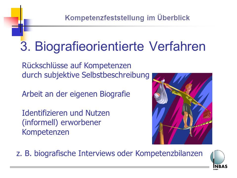 Kompetenzfeststellung im Überblick 3. Biografieorientierte Verfahren Rückschlüsse auf Kompetenzen durch subjektive Selbstbeschreibung Arbeit an der ei