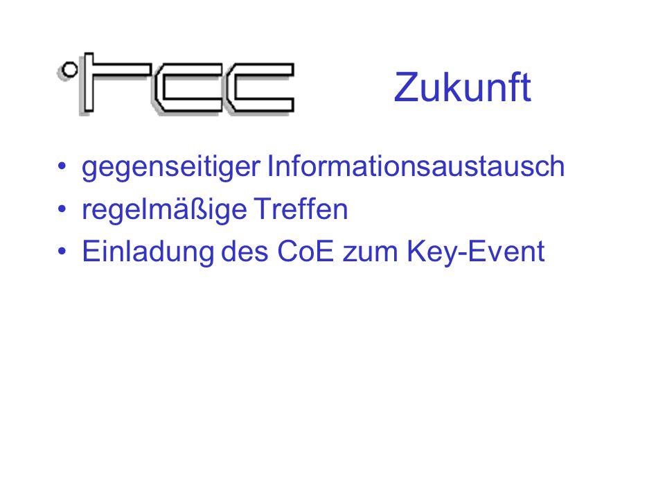 Zukunft gegenseitiger Informationsaustausch regelmäßige Treffen Einladung des CoE zum Key-Event