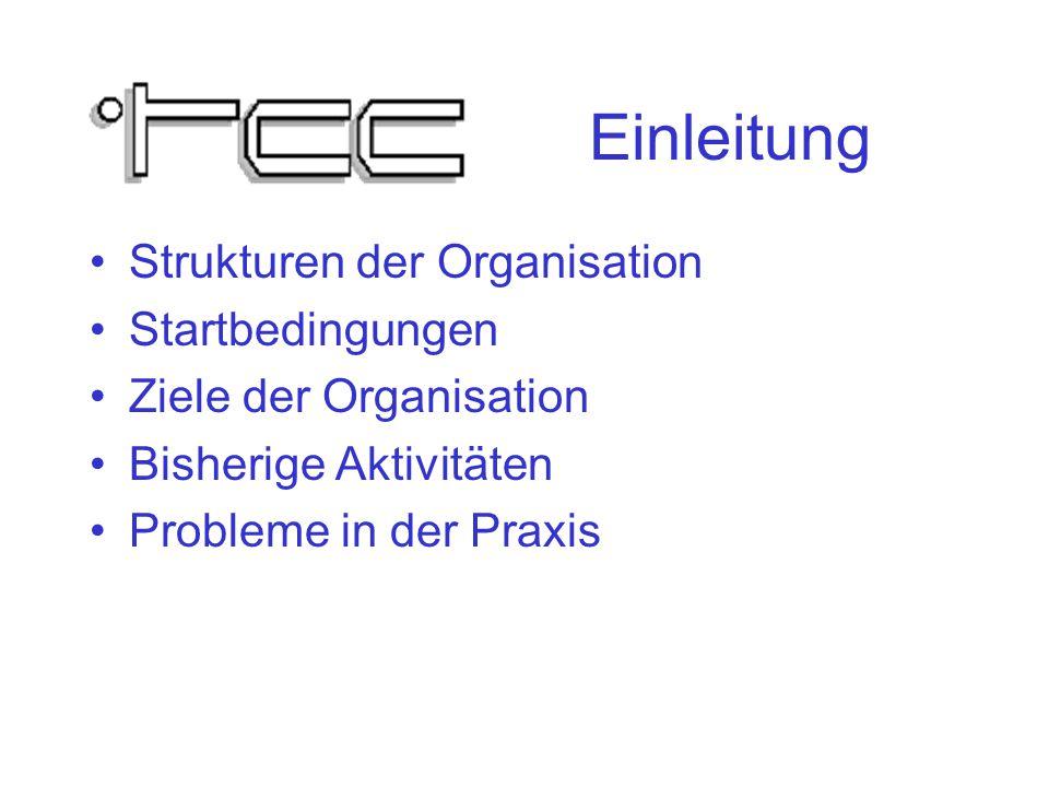 Einleitung Strukturen der Organisation Startbedingungen Ziele der Organisation Bisherige Aktivitäten Probleme in der Praxis