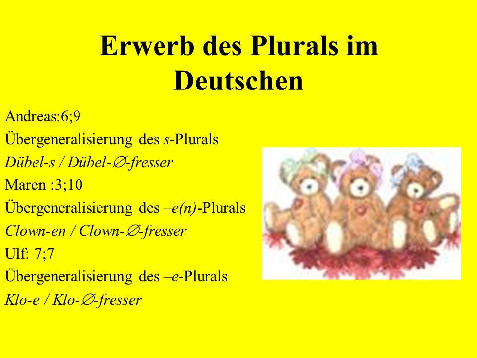 Plural im Deutschen -  (+Umlaut): Daumen, Klöster, Mütter -e (+Umlaut): Hunde, Regale, Kühe -er (+Umlaut): Männer, Kinder -e(n): Bären, Augen, Schauf