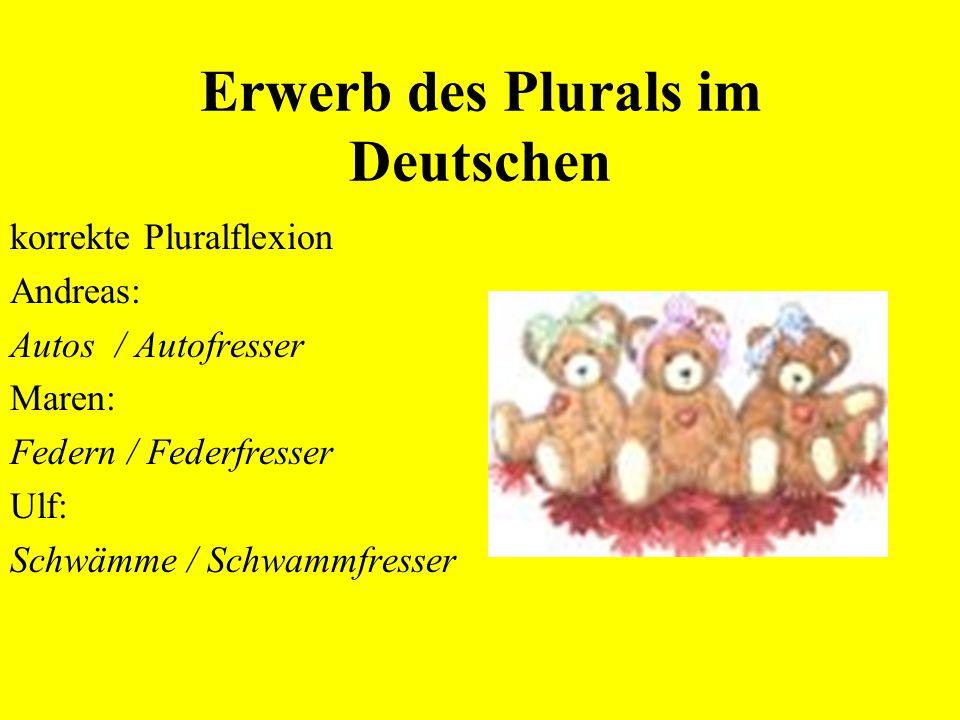 Erwerb des Plurals im Deutschen Andreas:6;9 Übergeneralisierung des s-Plurals Dübel-s / Dübel-  -fresser Maren :3;10 Übergeneralisierung des –e(n)-Pl