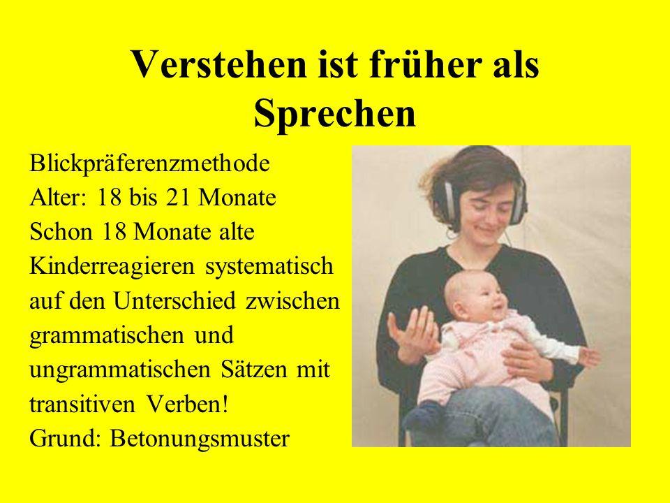 Verstehen ist früher als Sprechen transitiv a. Bert sagt, dass Lisa Oma hilft b. *Bert sagt, dass Lisa hilft Oma intransitiv a. Bert sagt, dass Lisa d