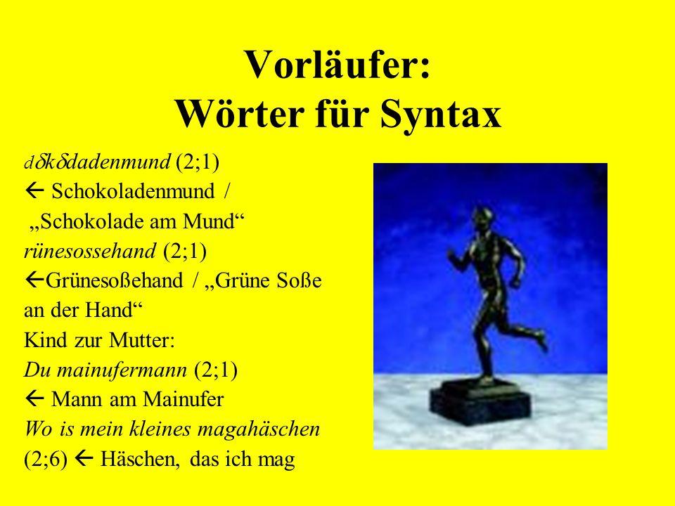 Erwerb des Plurals im Deutschen Andreas:6;9 Übergeneralisierung des s-Plurals Dübel-s / Dübel-  -fresser Maren :3;10 Übergeneralisierung des –e(n)-Plurals Clown-en / Clown-  -fresser Ulf: 7;7 Übergeneralisierung des –e-Plurals Klo-e / Klo-  -fresser
