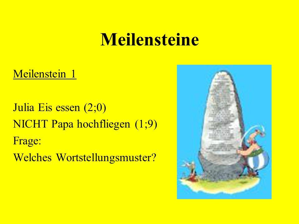 Meilensteine Meilenstein 1 Julia Eis essen (2;0) NICHT Papa hochfliegen (1;9) Frage: Welches Wortstellungsmuster?