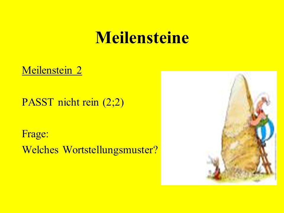 Meilensteine Meilenstein 2 PASST nicht rein (2;2) Frage: Welches Wortstellungsmuster?