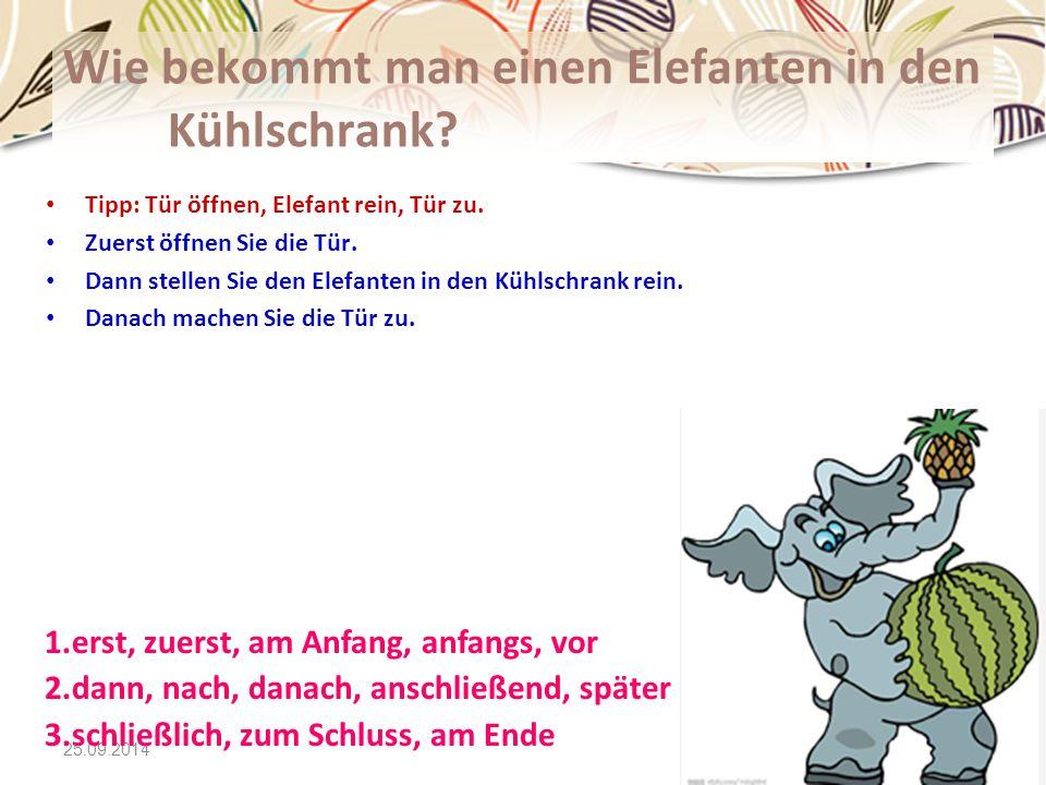 25.09.2014 Wie bekommt man einen Elefanten in den Kühlschrank? Tipp: Tür öffnen, Elefant rein, Tür zu. Zuerst öffnen Sie die Tür. Dann stellen Sie den