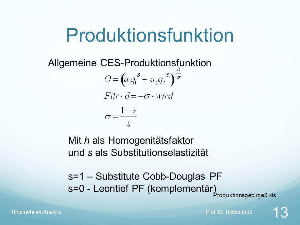 Produktionsfunktion Prof. Dr. HildebrandtUnternehmen Analyse 13 Allgemeine CES-Produktionsfunktion Mit h als Homogenitätsfaktor und s als Substitution