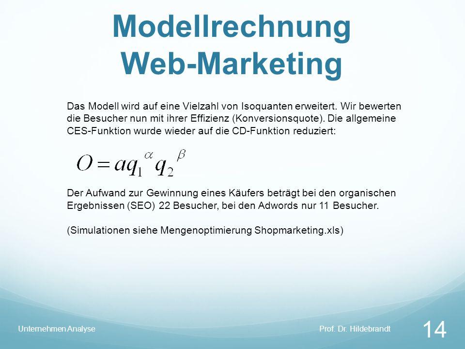 Modellrechnung Web-Marketing Prof. Dr. HildebrandtUnternehmen Analyse 14 Das Modell wird auf eine Vielzahl von Isoquanten erweitert. Wir bewerten die