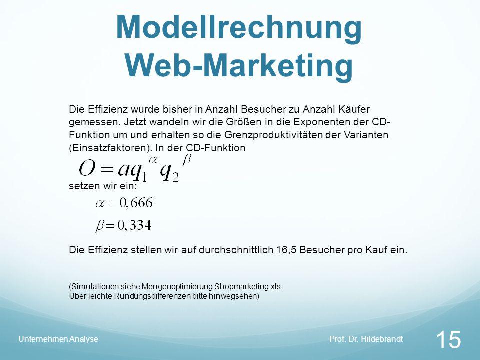 Modellrechnung Web-Marketing Prof. Dr. HildebrandtUnternehmen Analyse 15 Die Effizienz wurde bisher in Anzahl Besucher zu Anzahl Käufer gemessen. Jetz