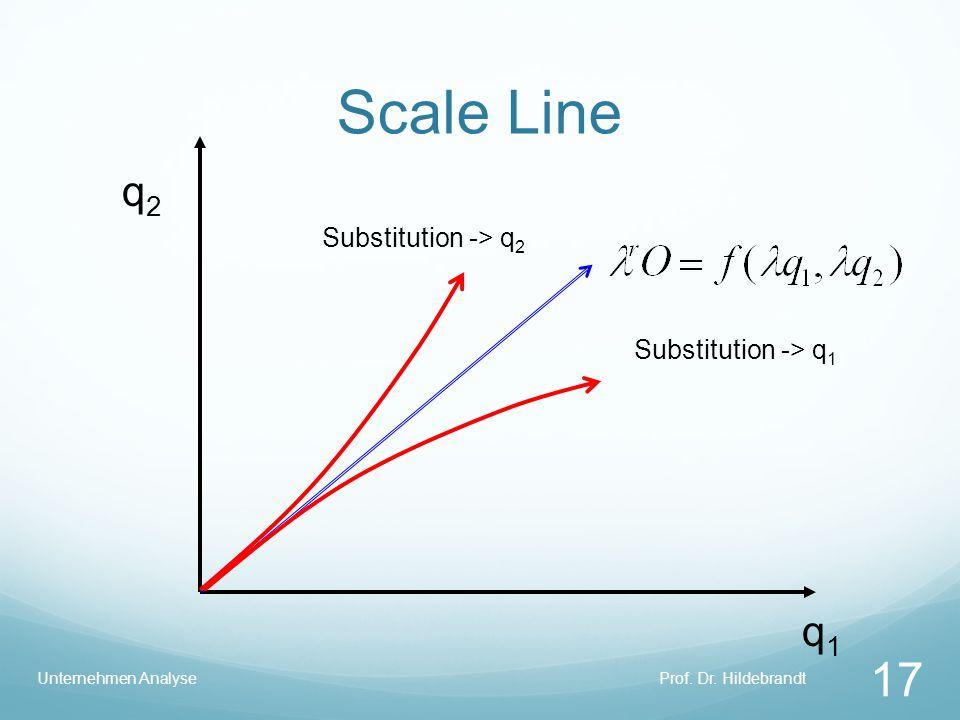 Scale Line Prof. Dr. HildebrandtUnternehmen Analyse 17 q1q1 q2q2 Substitution -> q 1 Substitution -> q 2