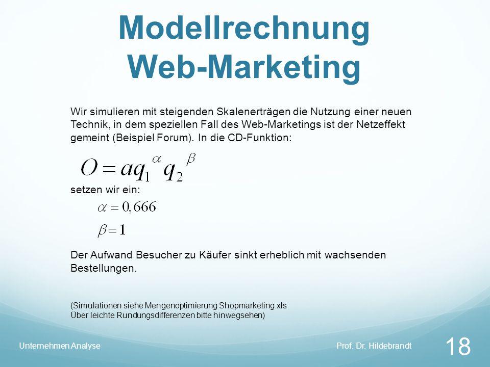 Modellrechnung Web-Marketing Prof. Dr. HildebrandtUnternehmen Analyse 18 Wir simulieren mit steigenden Skalenerträgen die Nutzung einer neuen Technik,