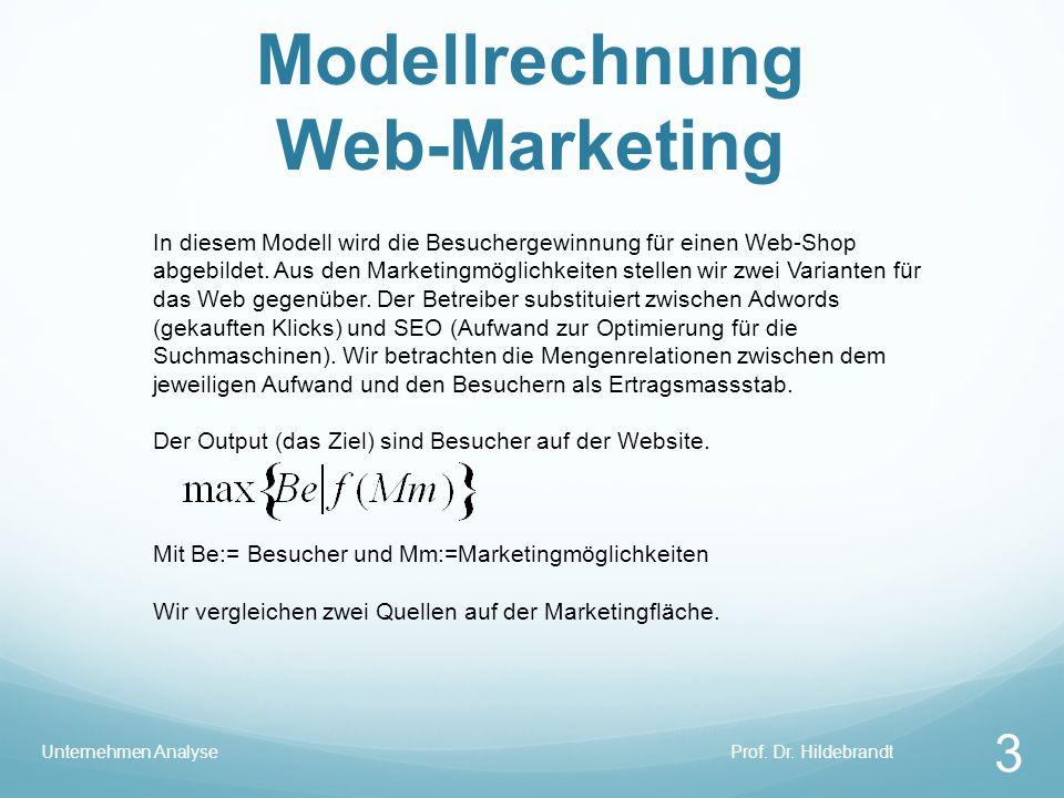 Modellrechnung Web-Marketing Prof. Dr. HildebrandtUnternehmen Analyse 3 In diesem Modell wird die Besuchergewinnung für einen Web-Shop abgebildet. Aus