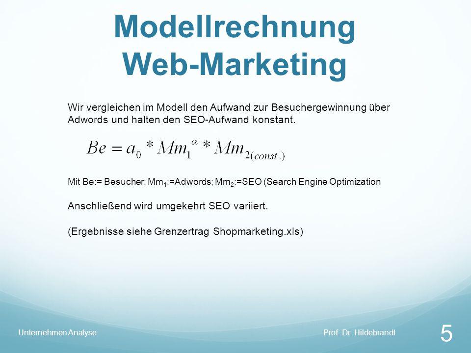 Modellrechnung Web-Marketing Prof. Dr. HildebrandtUnternehmen Analyse 5 Wir vergleichen im Modell den Aufwand zur Besuchergewinnung über Adwords und h