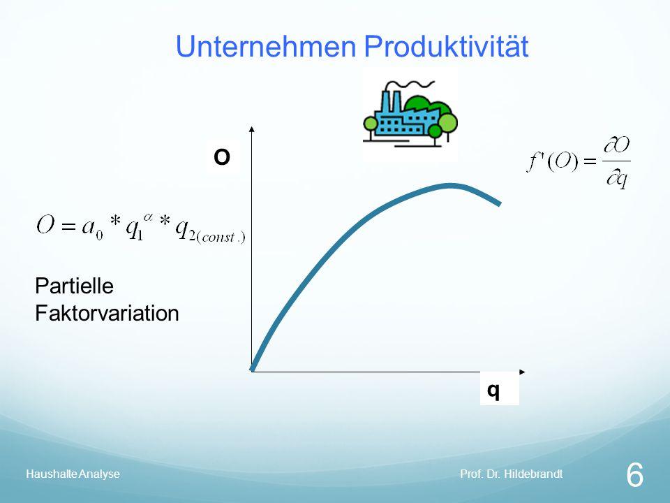 Unternehmen Produktivität Prof. Dr. Hildebrandt 6 Haushalte Analyse q O Partielle Faktorvariation