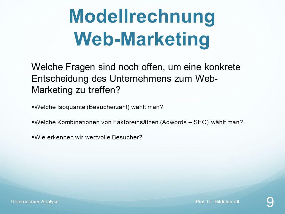 Modellrechnung Web-Marketing Prof. Dr. HildebrandtUnternehmen Analyse 9 Welche Fragen sind noch offen, um eine konkrete Entscheidung des Unternehmens