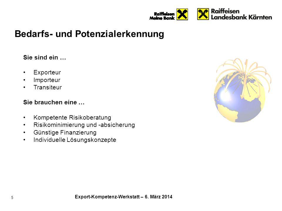 Export-Kompetenz-Werkstatt – 6. März 2014 5 Bedarfs- und Potenzialerkennung Sie sind ein … Exporteur Importeur Transiteur Sie brauchen eine … Kompeten