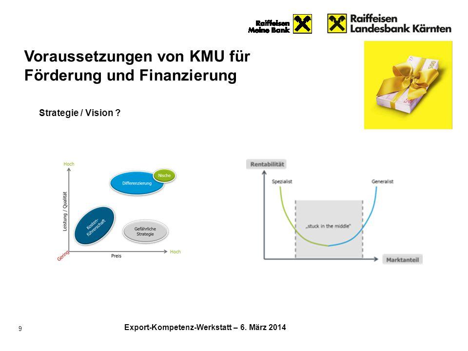 Export-Kompetenz-Werkstatt – 6. März 2014 9 Strategie / Vision ? Voraussetzungen von KMU für Förderung und Finanzierung