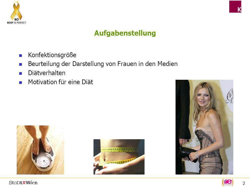 13 Fazit Die Mehrheit der österreichischen Frauen trägt Konfektionsgröße ab 40, mit Konfektionsgrößen bis 36 kann sich nur eine Minderheit (auch der jungen Frauen) identifizieren.