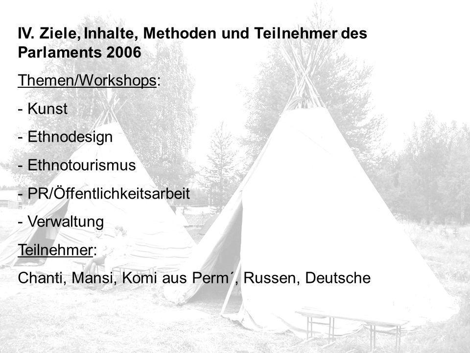 IV. Ziele, Inhalte, Methoden und Teilnehmer des Parlaments 2006 Themen/Workshops: - Kunst - Ethnodesign - Ethnotourismus - PR/Öffentlichkeitsarbeit -