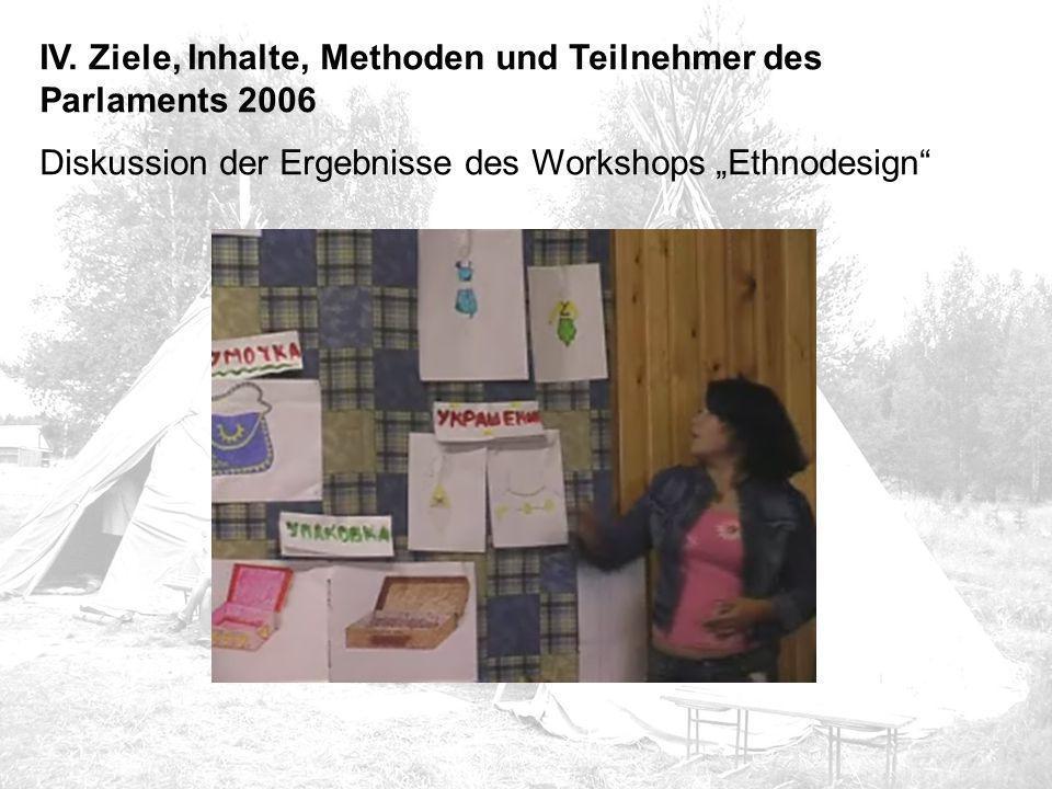 """IV. Ziele, Inhalte, Methoden und Teilnehmer des Parlaments 2006 Diskussion der Ergebnisse des Workshops """"Ethnodesign"""""""