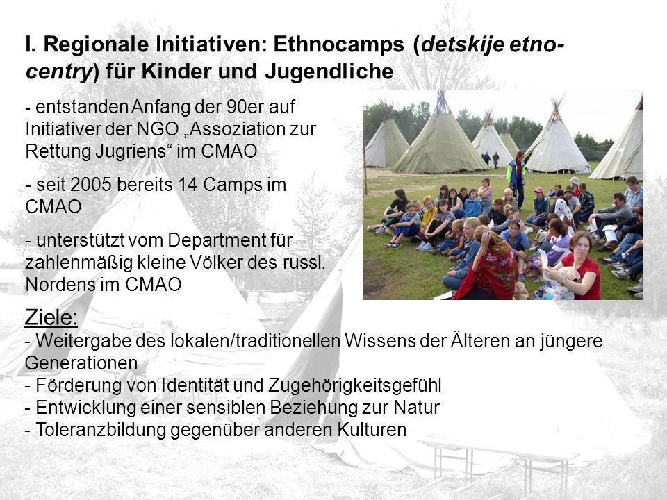 """I. Regionale Initiativen: Ethnocamps (detskije etno- centry) für Kinder und Jugendliche - entstanden Anfang der 90er auf Initiativer der NGO """"Assoziat"""