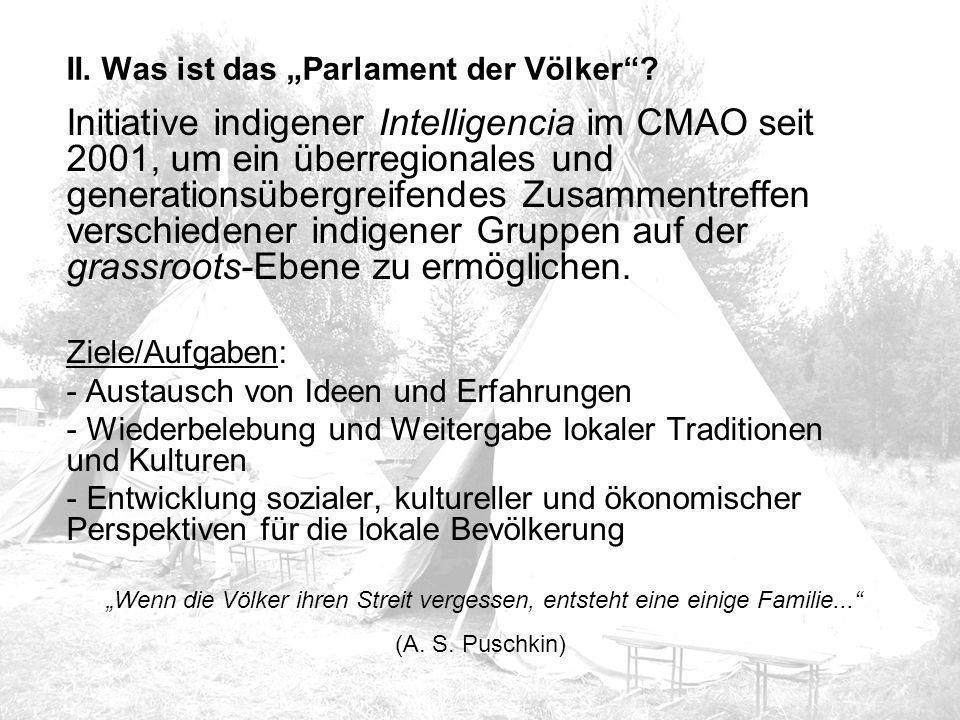 Initiative indigener Intelligencia im CMAO seit 2001, um ein überregionales und generationsübergreifendes Zusammentreffen verschiedener indigener Gruppen auf der grassroots-Ebene zu ermöglichen.