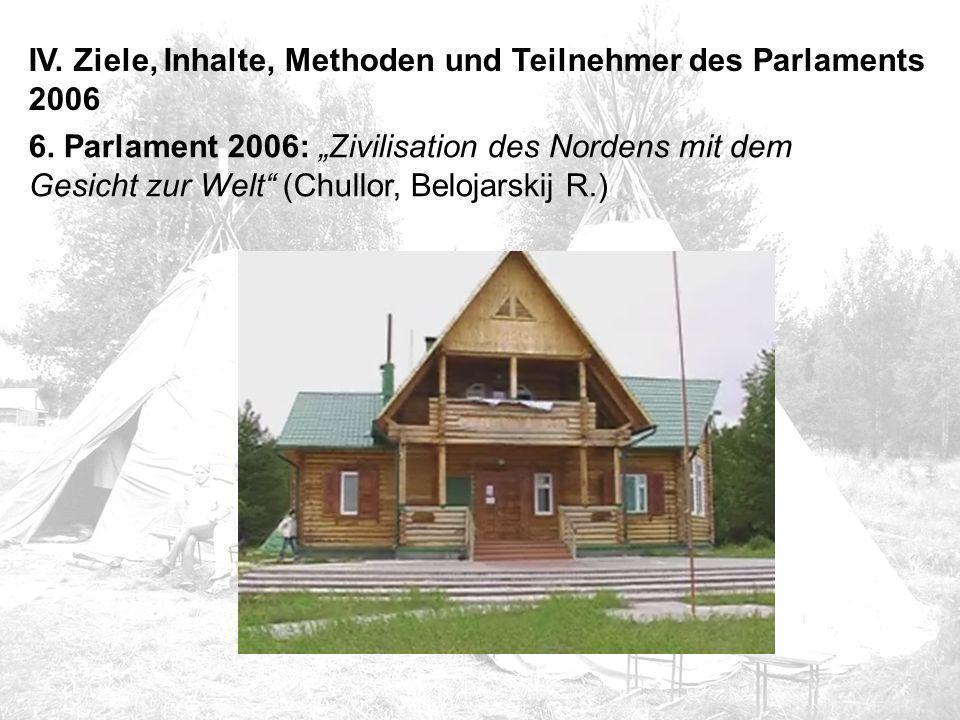 """IV. Ziele, Inhalte, Methoden und Teilnehmer des Parlaments 2006 6. Parlament 2006: """"Zivilisation des Nordens mit dem Gesicht zur Welt"""" (Chullor, Beloj"""